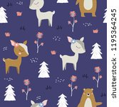 seamless pattern with cute deer ... | Shutterstock .eps vector #1195364245