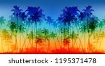 rainbow colors palms... | Shutterstock . vector #1195371478