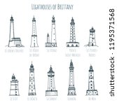 set of hand drawn sketch style... | Shutterstock . vector #1195371568