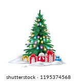 vector spruce christmas tree... | Shutterstock .eps vector #1195374568