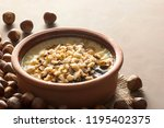 baked rice pudding turkish...   Shutterstock . vector #1195402375