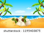 baby sea turtle hatch on the...   Shutterstock .eps vector #1195403875