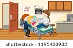 couple ultrasound at hospital... | Shutterstock .eps vector #1195403932