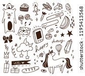 cute doodle with mix of various ... | Shutterstock .eps vector #1195413568