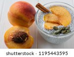 chia seed pudding with peach... | Shutterstock . vector #1195443595
