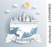 indonesia landmarks on earth in ... | Shutterstock .eps vector #1195449802
