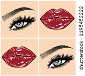 illustration with collage of... | Shutterstock .eps vector #1195453222