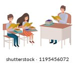 teacher reading in the... | Shutterstock .eps vector #1195456072