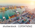 container ship in export and... | Shutterstock . vector #1195476562