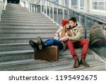lifestyle couple of happy... | Shutterstock . vector #1195492675