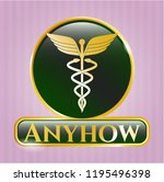 gold shiny badge with caduceus ... | Shutterstock .eps vector #1195496398
