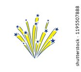 fireworks icon. thin line... | Shutterstock .eps vector #1195507888