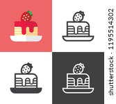 strawberry cheesecake icons | Shutterstock .eps vector #1195514302