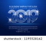 vector ice happy new year 2019... | Shutterstock .eps vector #1195528162