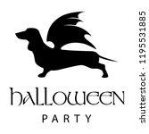 dog with bat wings  halloween...   Shutterstock .eps vector #1195531885
