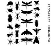 vector isolated set of insects... | Shutterstock .eps vector #1195542715