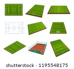 set of realistic football field ... | Shutterstock . vector #1195548175