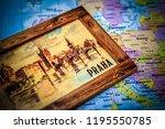 praha on the map   Shutterstock . vector #1195550785