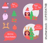 set of christmas photo booth.... | Shutterstock .eps vector #1195554748