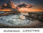 sunset seashore seascape | Shutterstock . vector #1195577995