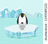 penguin and baby  in north pole ... | Shutterstock .eps vector #1195589122