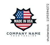 united state flag shield vector ... | Shutterstock .eps vector #1195594372