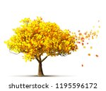 autumn maple tree isolated 3d... | Shutterstock . vector #1195596172