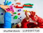 kids play with clay molding... | Shutterstock . vector #1195597735
