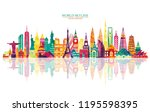 travel and tourism background.... | Shutterstock .eps vector #1195598395