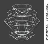 a wireframe shape on a grey... | Shutterstock .eps vector #1195603582
