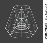 a wireframe shape on a grey... | Shutterstock .eps vector #1195603615