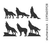 silhouettes of wolves on the... | Shutterstock .eps vector #1195605928