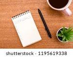 top view 2019 goals list with... | Shutterstock . vector #1195619338