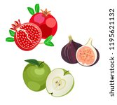 pomegranates  apples  figs... | Shutterstock .eps vector #1195621132