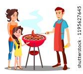 happy family having barbecue in ... | Shutterstock .eps vector #1195627645