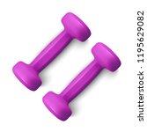 set of 3d dumbbells set ... | Shutterstock .eps vector #1195629082