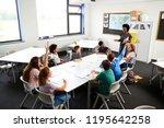 high school students raising... | Shutterstock . vector #1195642258