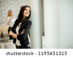 portrait of young businesswoman ... | Shutterstock . vector #1195651315