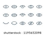 eye and view line icons. vector ... | Shutterstock .eps vector #1195652098