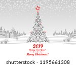 2019 happy new year greeting... | Shutterstock . vector #1195661308