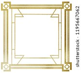 art deco gold frame on a white... | Shutterstock . vector #1195667062