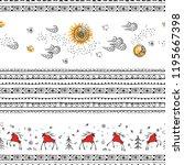 hand drawn christmas seamless...   Shutterstock .eps vector #1195667398