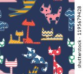 abstract seamless cats pattern. ... | Shutterstock .eps vector #1195679428
