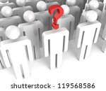 crowd of people with question mark on one person - stock photo