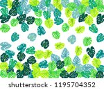 philodendron or monstera plant. ... | Shutterstock .eps vector #1195704352
