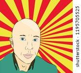 bald man pop art vector | Shutterstock .eps vector #1195705525