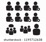 vector black people icons set | Shutterstock .eps vector #1195712638