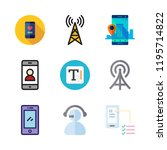 telephone icon set. vector set... | Shutterstock .eps vector #1195714822