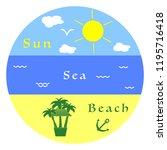 sun  clouds  bird  sea  waves ... | Shutterstock .eps vector #1195716418