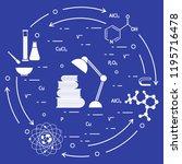 scientific  education elements. ... | Shutterstock .eps vector #1195716478